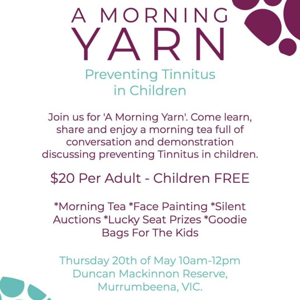 A morning yarn event poster: Thursday 20 May 10-2pm Murrumbeena